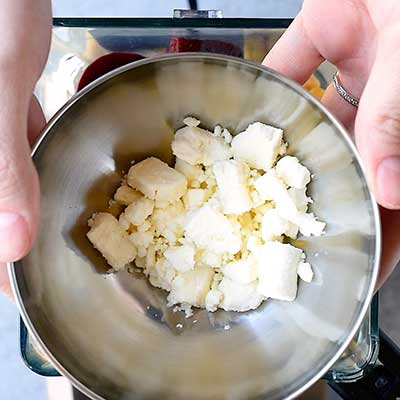 Roasted Beet Hummus Step 3 - Add feta cheese.
