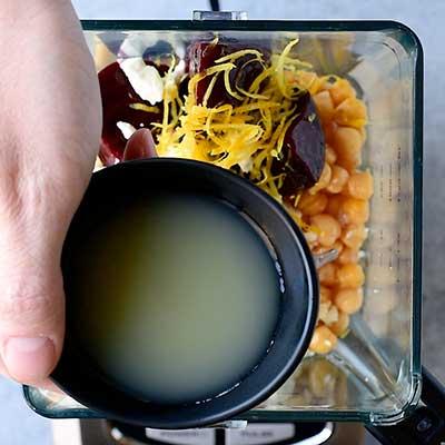 Roasted Beet Hummus Step 3 - Add lemon juice.