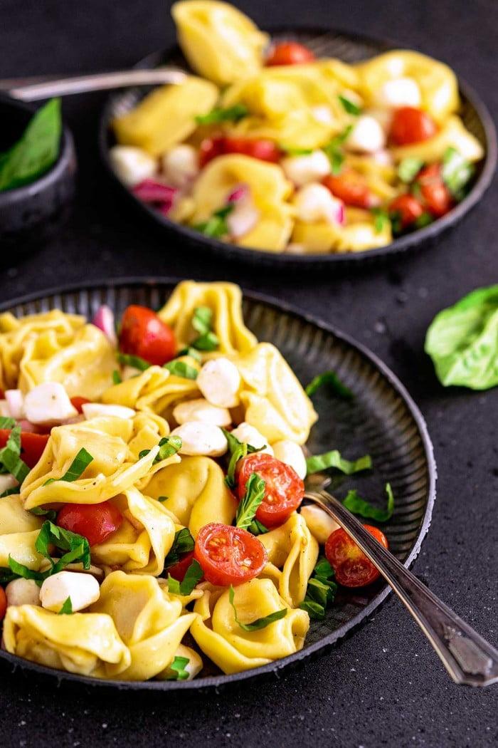 Side few of plated tortellini pasta salad.