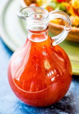 Prepared catalina dressing in a decorative bottle.