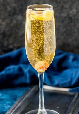 Classic champagne cocktail in a champagne flute.